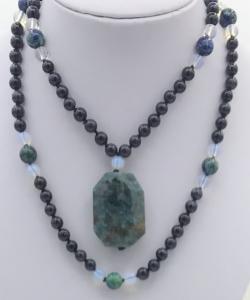 Emerald Forest Mala- Blue Goldstone, Opalite & Azurite Accents, Opalite Guru, Apatite Pendant