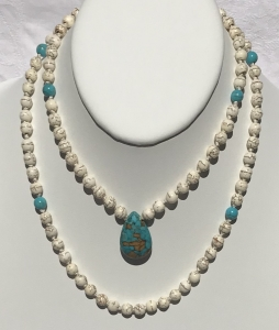 Sold Natural Magnesite, Turquoise Accents and Pendant